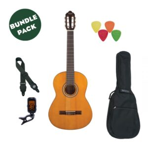 Valencia VC203 Beginner 3/4 Guitar (With free bag, tuner, picks, strap and lesson)