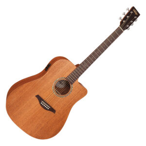 Vintage VEC501Mh Electro Acoustic With Usb Acoustic Dreadnought – Satin Mahogany W/Gig Bag and a Free Lesson