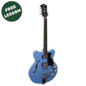 Hofner Verythin Limited Edition Bigsby Electric Guitar W/Gig Bag and a Free Lesson