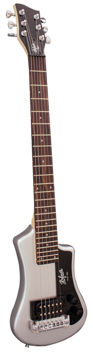 Hofner HCT Shorty Guitar – Silver W/Gig Bag and a Free Lesson