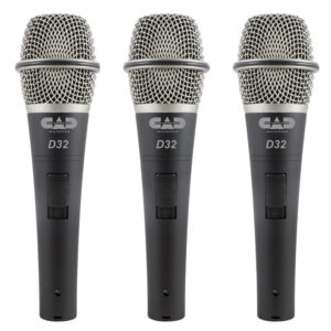 CAD Live D32 Supercardioid Dynamic Vocal Microphone – 3 Pack