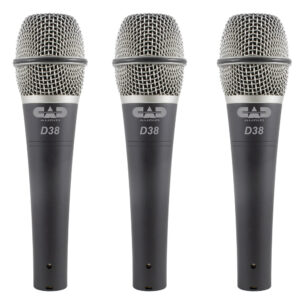 CAD Live D38 Supercardioid Dynamic Instrument Microphone – 3 Pack