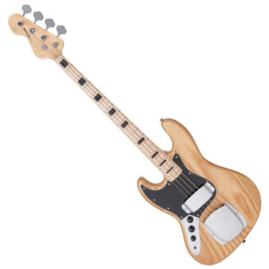 Vintage VJ74 Reissued Maple Fingerboard Bass ~ Natural Ash – Left Hand W/Gig Bag and a Free Lesson