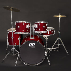PP Drums 5pc Fusion Drum Kit ~ Wine Red W/Free Lesson