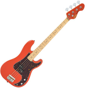 Vintage V4 ReIssued Maple Fingerboard Bass Guitar ~ Firenza Red W/Gig Bag and a Free Lesson