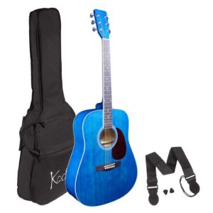 Acoustic Guitar, Koda 4/4 Size Blue Guitar Pack, with Bag, Strap and 2 Picks