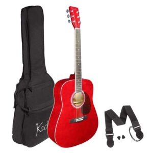 Acoustic Guitar , Koda 4/4 Size Red Guitar Pack , with Bag, Strap and Picks