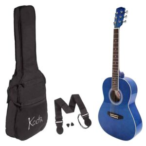 Koda 3/4 Acoustic Guitar , Steel Strings, Spruce Top, Basswood B&S, 5mm Gig Bag, Strap and Picks , Blue