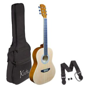 Koda 3/4 Acoustic Guitar , Steel Strings, Spruce Top, Basswood B&S, 5mm Gig Bag, Strap and Picks , Natural