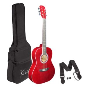 Koda 3/4 Acoustic Guitar , Steel Strings, Spruce Top, Basswood B&S, 5mm Gig Bag, Strap and Picks , Red