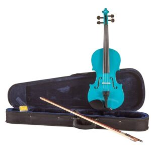 Koda Beginner Violin, 4/4 Size Fiddle, Comes with Case, Bow & Rosin- Blue