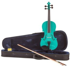 Koda Beginner Violin, 4/4 Size Fiddle, Comes with Case, Bow & Rosin – GREEN