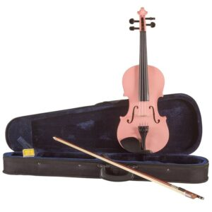 Koda Beginner Violin, 4/4 Size Fiddle, Comes with Case, Bow & Rosin- PINK