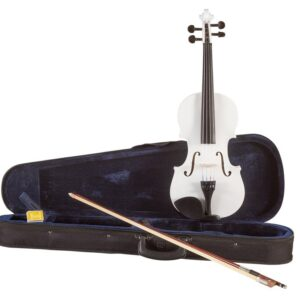 Koda Beginner Violin 3/4 Size Fiddle, Comes with Case, Bow & Rosin- WHITE