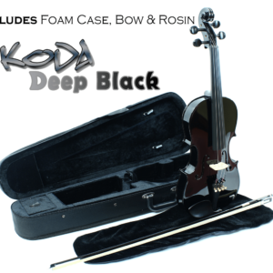 Violin, Koda 4/4 Size Traditional Violin With Case, Bow and Rosin, Black