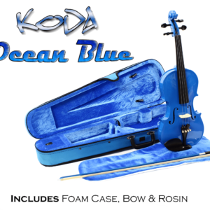 Violin, Koda 4/4 Size Traditional Violin With Case, Bow and Rosin, Blue