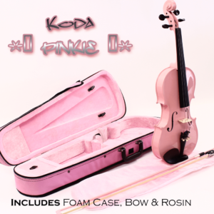 Violin, Koda 1/4 Size Traditional Violin with Case, Bow & Rosin, Pink